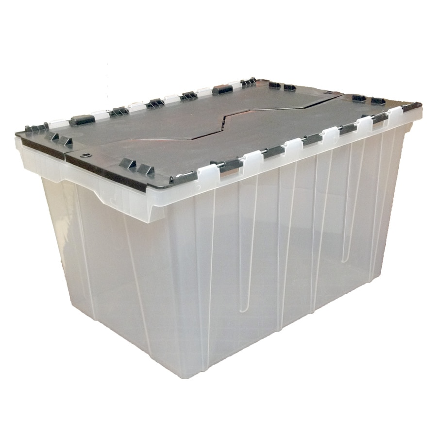 Genial Style Selections 48 Quart Clear Tote With Hinged Lid