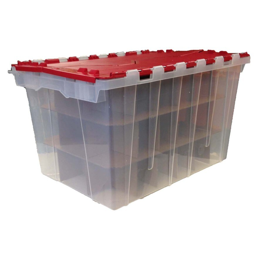 Centrex Plastics, LLC 12-Gallon Red Tote with Hinged Lid