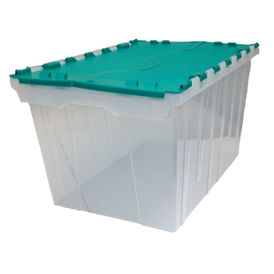 Centrex Plastics, LLC 12-Gallon Green Tote with Hinged Lid