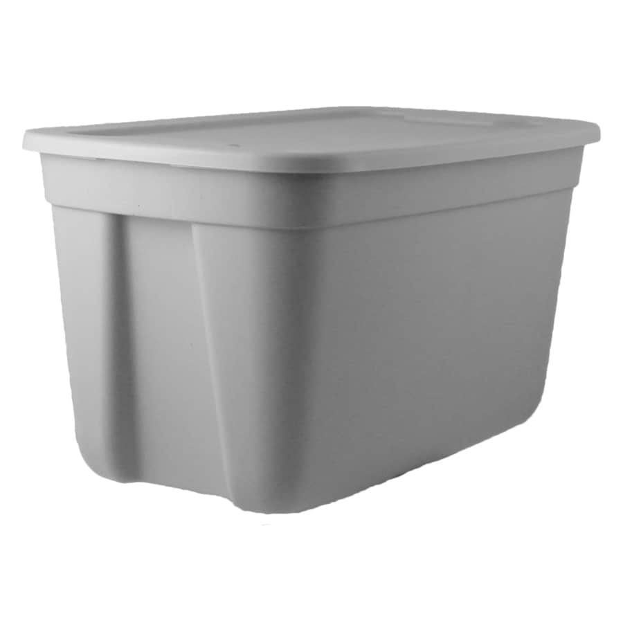 Style Selections 18 Gallon (72 Quart) Gray Tote With Standard Snap Lid