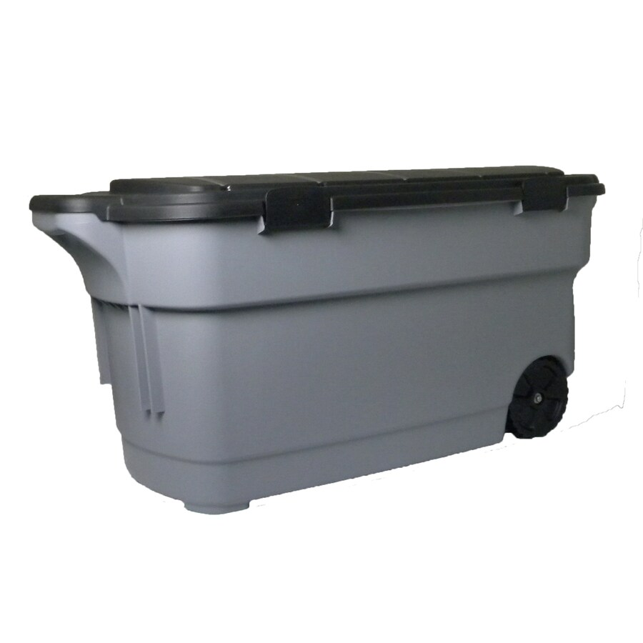 Baskets Storage Containers At Garage Consumer Unit Wiring Centrex Rugged Tote 45 Gallon 180 Quart Gray With Latching Lid