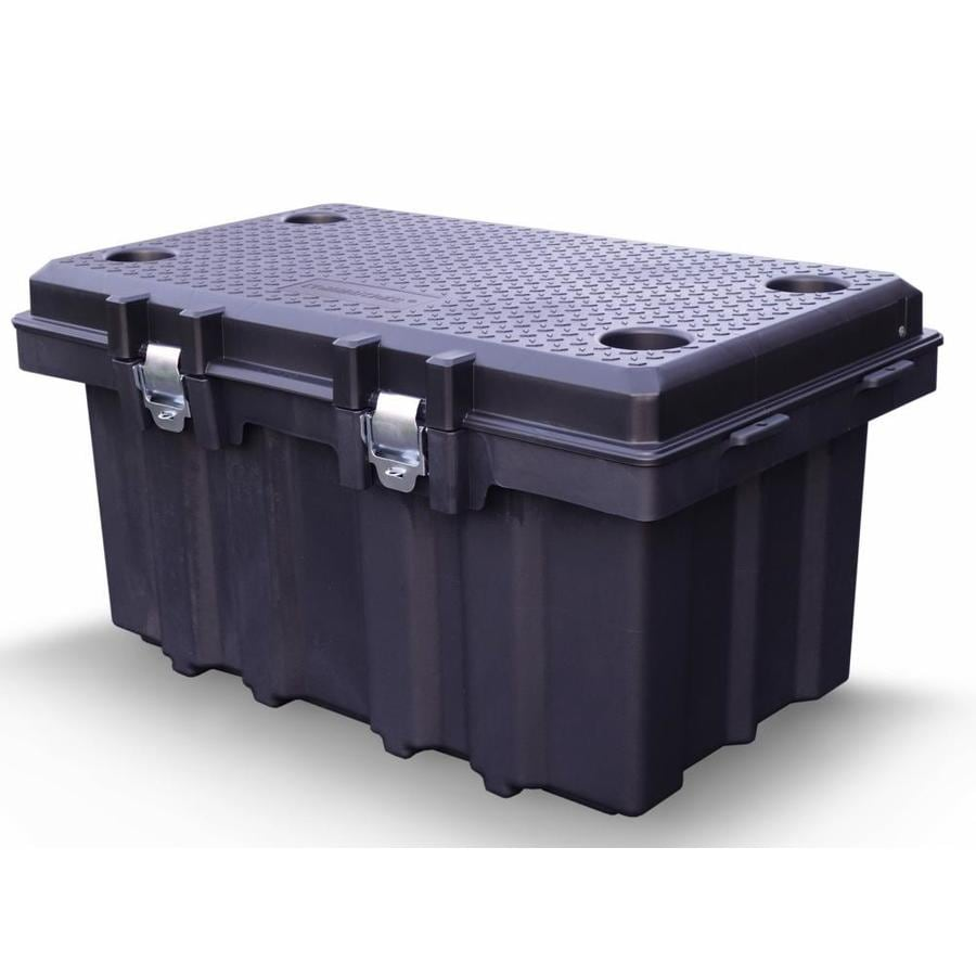 Centrex Plastics, LLC Commander 53-Gallon Black Tote with Latching Lid