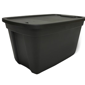 Style Selections 18-Gallon (72-Quart) Black Tote with Standard Snap Lid