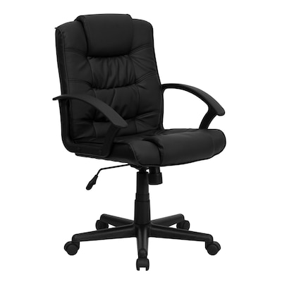 Pleasant Mid Back Black Leather Swivel Task Office Chair With Arms Pdpeps Interior Chair Design Pdpepsorg