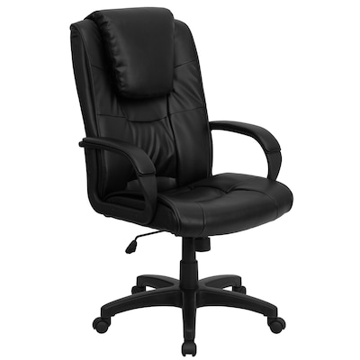 Awesome High Back Black Leather Executive Swivel Office Chair With Oversized Headrest And Arms Inzonedesignstudio Interior Chair Design Inzonedesignstudiocom