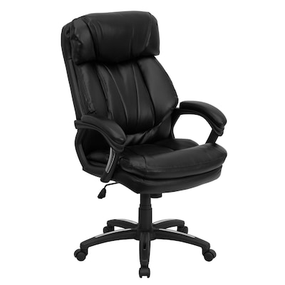 Sensational High Back Black Leather Executive Swivel Ergonomic Office Chair With Plush Headrest Extensive Padding And Arms Spiritservingveterans Wood Chair Design Ideas Spiritservingveteransorg