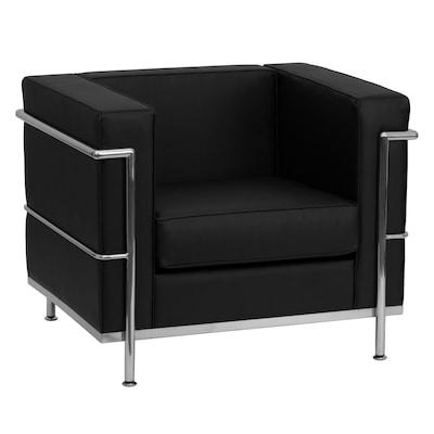 Astounding Hercules Regal Series Modern Black Faux Leather Accent Chair Machost Co Dining Chair Design Ideas Machostcouk