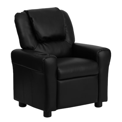 Surprising Contemporary Black Leather Kids Recliner With Cup Holder And Headrest Pabps2019 Chair Design Images Pabps2019Com