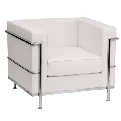 Excellent Hercules Regal Series Modern Melrose White Faux Leather Accent Chair Squirreltailoven Fun Painted Chair Ideas Images Squirreltailovenorg