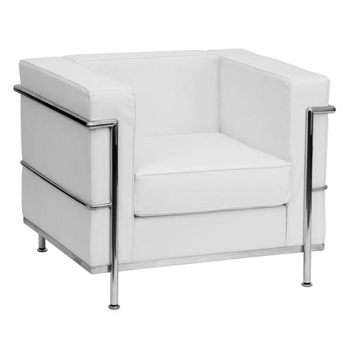 HERCULES Regal Series Modern Melrose White Faux Leather Accent Chair