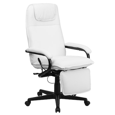High Back White Leather Executive Reclining Ergonomic Swivel Office Chair  with Arms