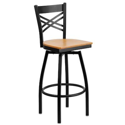 Wondrous Flash Furniture Natural Wood Seat Black Metal Frame Bar Inzonedesignstudio Interior Chair Design Inzonedesignstudiocom
