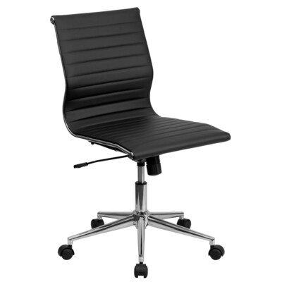 Magnificent Mid Back Armless Black Ribbed Leather Swivel Conference Office Chair Uwap Interior Chair Design Uwaporg