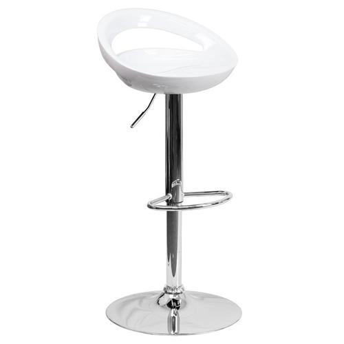 Flash Furniture White Adjustable Swivel Bar Stool In The