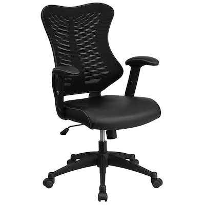 High Back Designer Black Mesh Executive Swivel Ergonomic Office Chair With Leather Seat And Adjule Arms