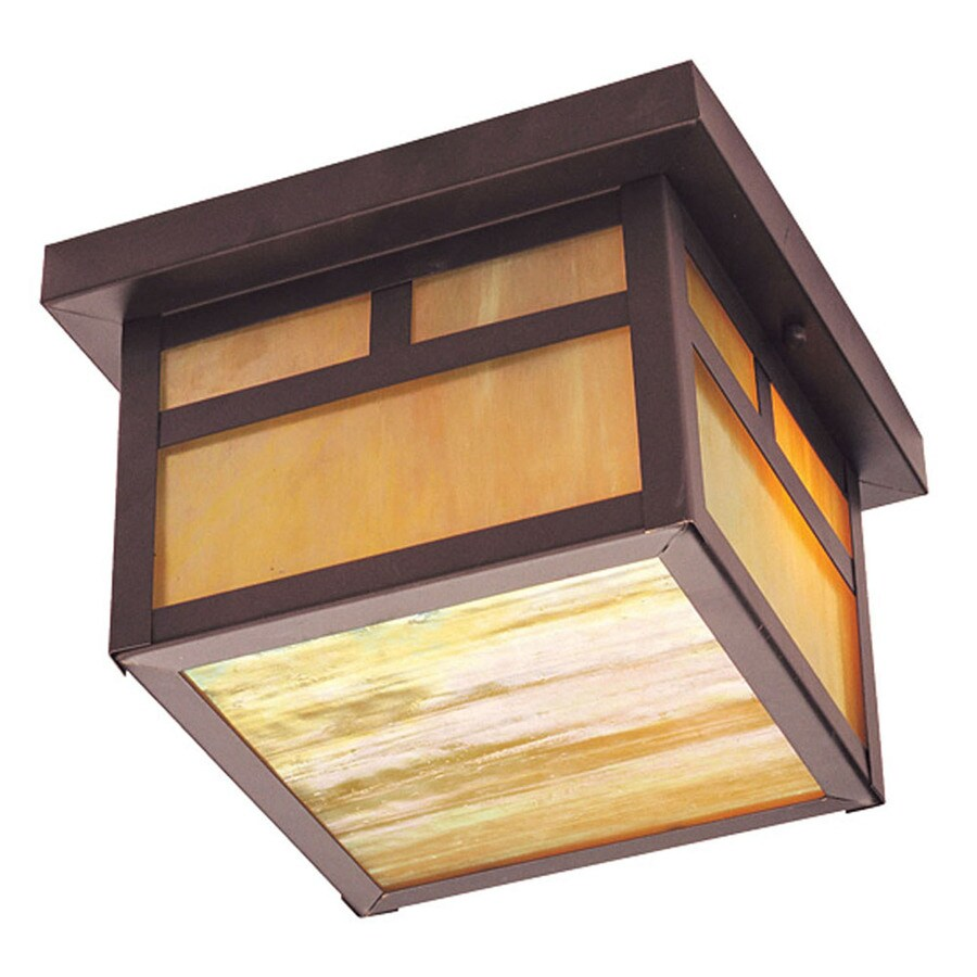 Aberdeen 9.5-in W Bronze Outdoor Flush-Mount Light