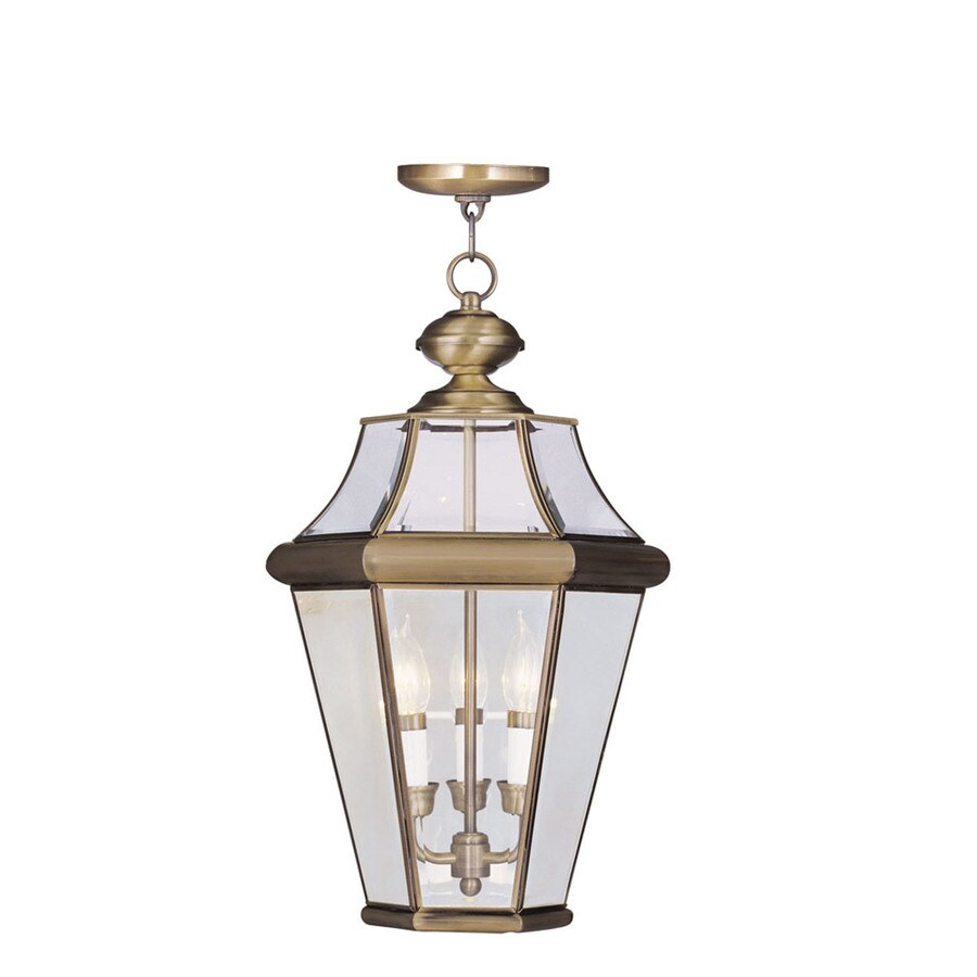 Aberdeen 21-in Antique Brass Outdoor Pendant Light