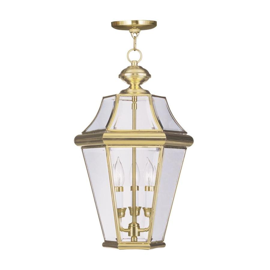Aberdeen 21-in Polished Brass Outdoor Pendant Light