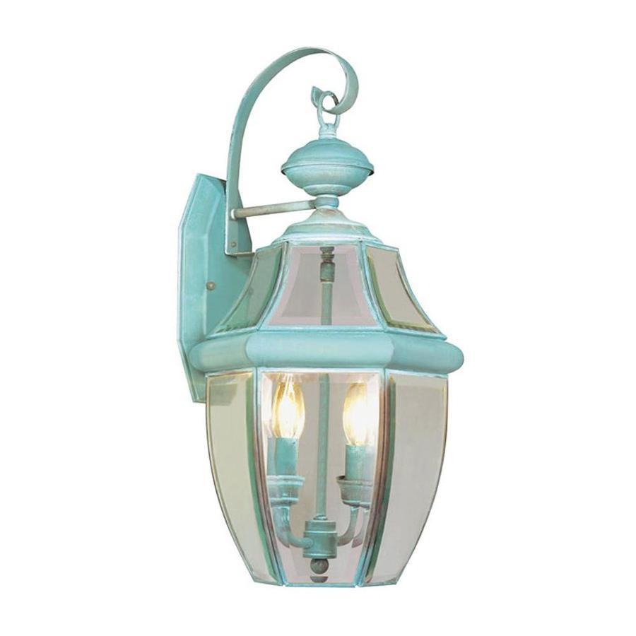 Livex Lighting Monterey 20 25 In H Verdigris Electrical Outlet Candelabra Base E 12 Outdoor Wall Light
