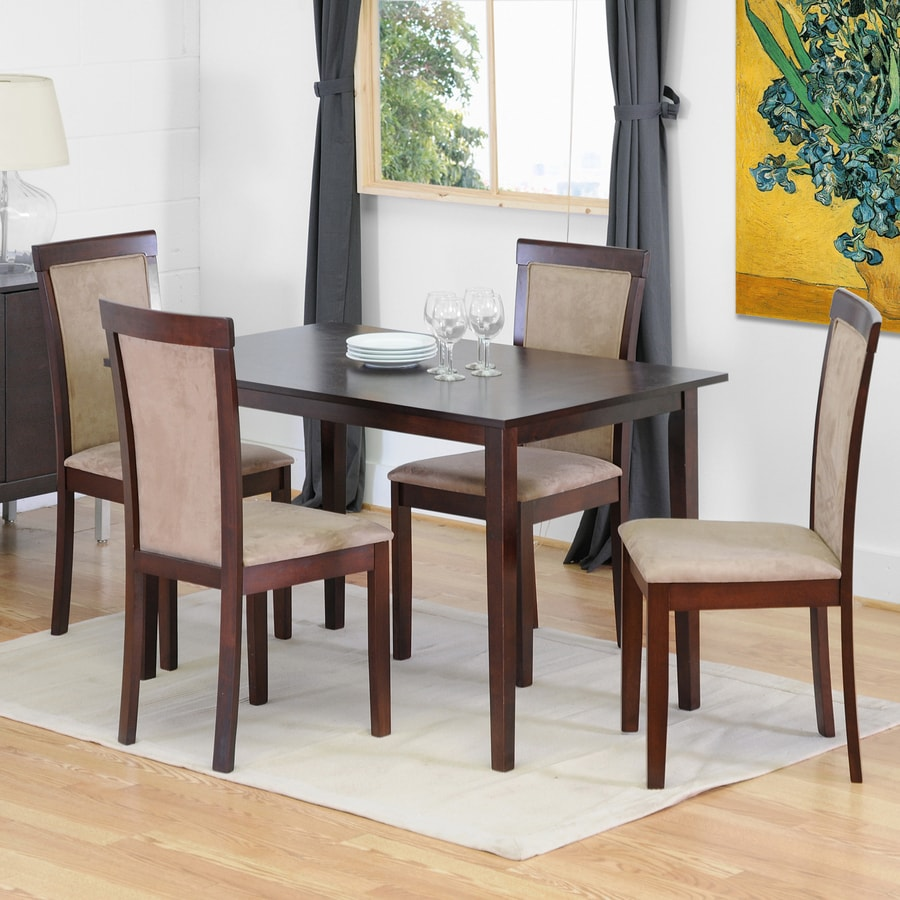 Baxton Studio Baxton Dark Brown Dining Set with Rectangular (29-in to 31-in) Table