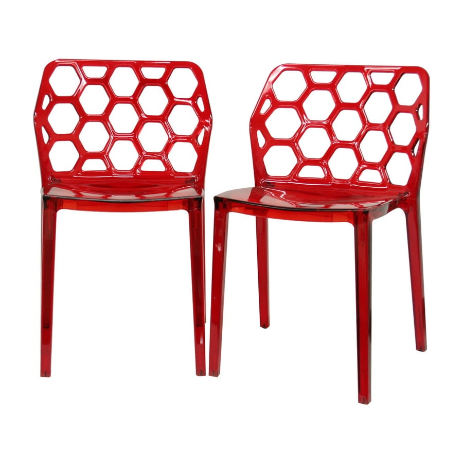Baxton Studio Set of 2 Contemporary Red Side Chairs