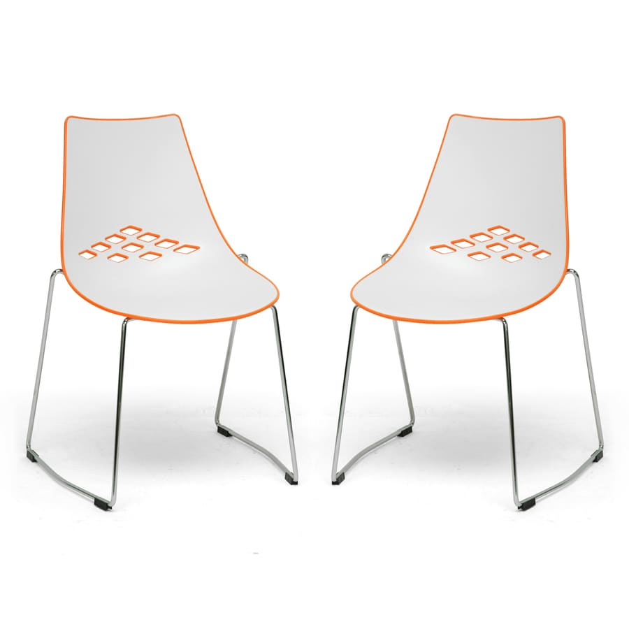 Baxton Studio Set of 2 White and Orange Stackable Side Chairs