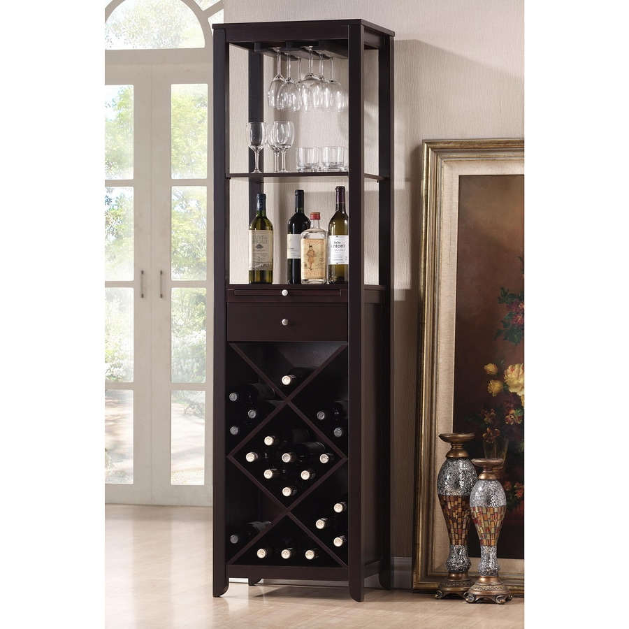 Baxton Studio Austin Brown 20 Bottle Wine Cabinet