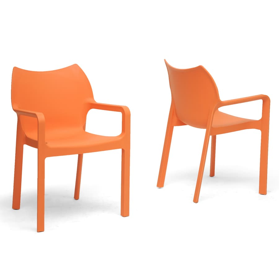 Baxton Studio Set of 2 Limerick Contemporary Orange Side Chairs