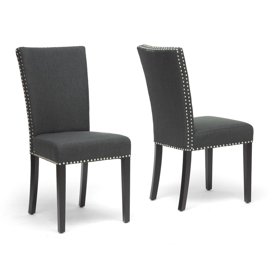 Baxton Studio Set of 2 Harrowgate Gray and Black Side Chairs