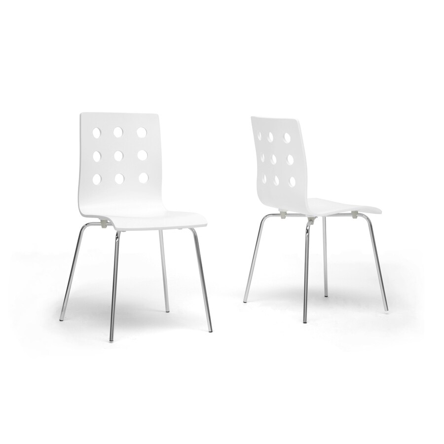 Baxton Studio Set of 2 Celeste White Plywood Side Chairs