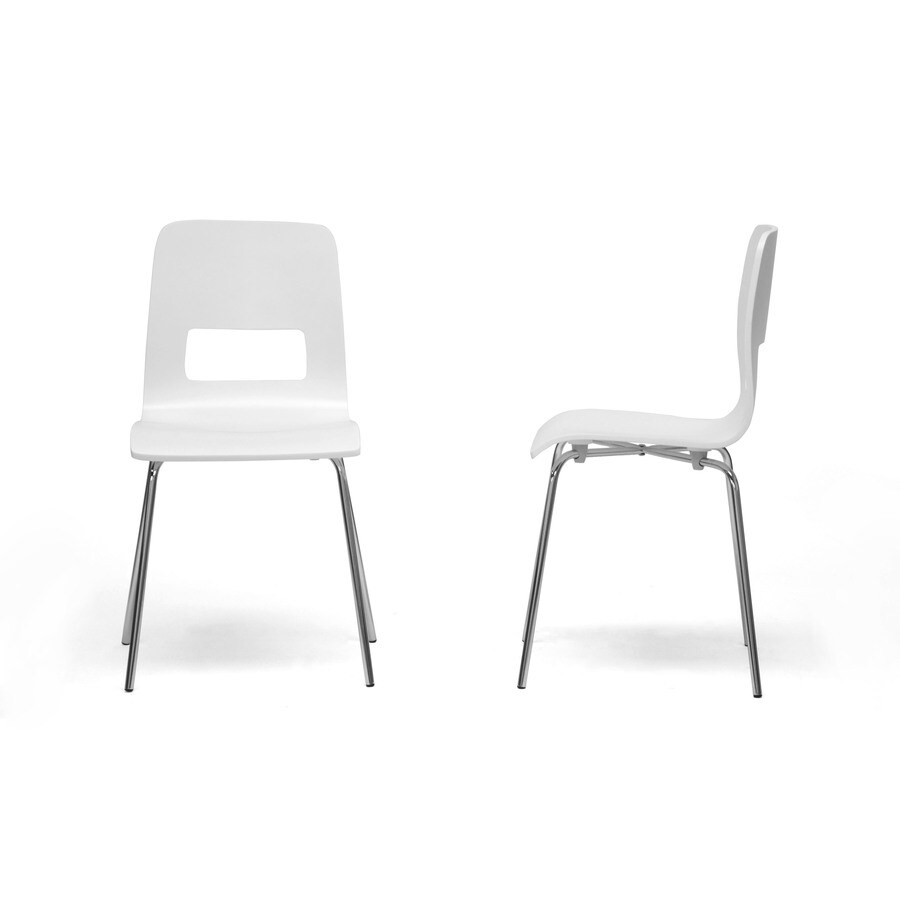Baxton Studio Set of 2 Greta White and Chrome Side Chair