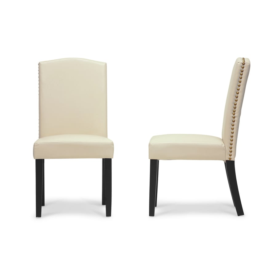 Baxton Studio Set of 2 Trullinger Contemporary Off-White Side Chairs