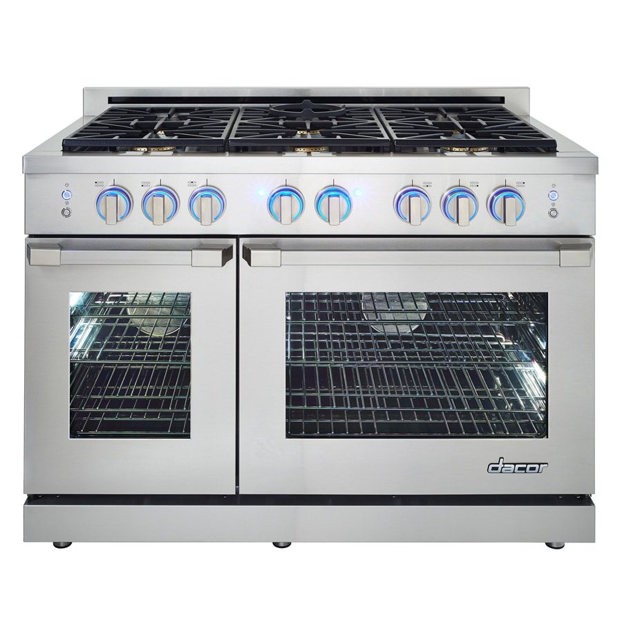 Dacor Renaissance 48-in 6-Burner 5.2-cu ft / 2.8-cu ft Self-Cleaning Double Oven Convection Gas Range (Stainless Steel)