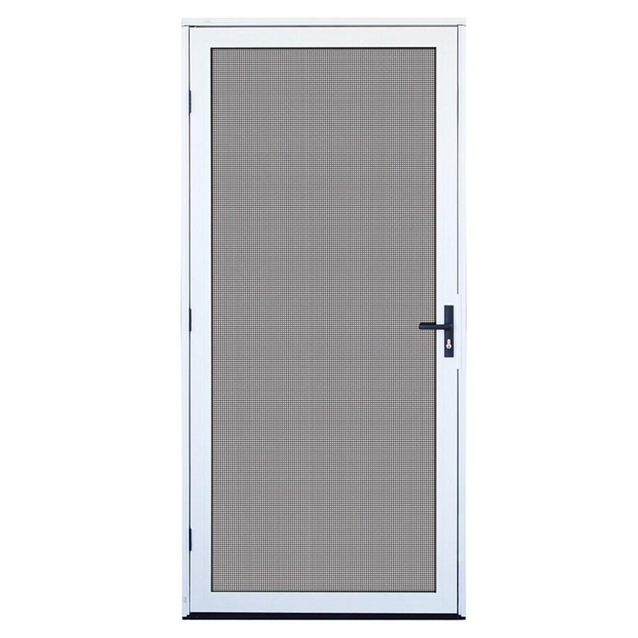 TITAN Meshtec White Aluminum Surface Mount Single Security Door (Common: 32-in x 80-in; Actual: 34.5-in x 81.6-in)