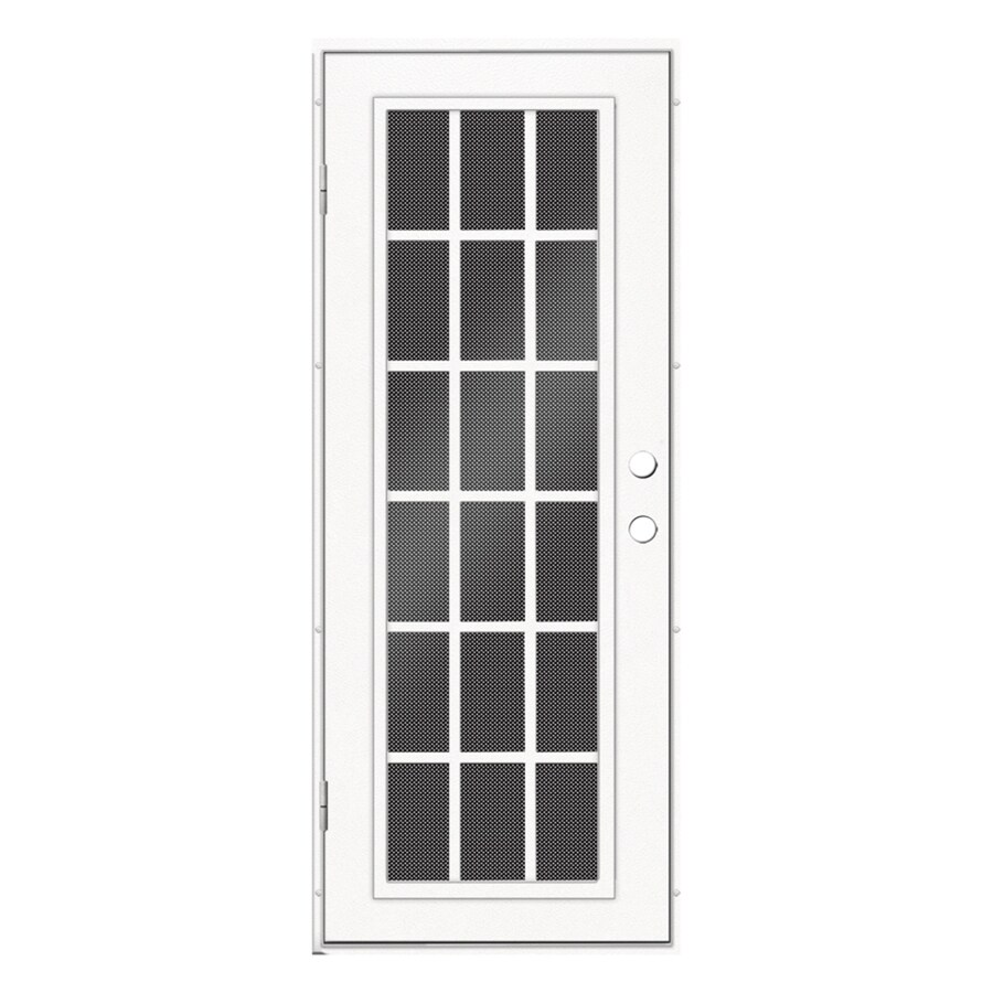 TITAN Powder-coat White Aluminum Recessed Mount Single Security Door (Common: 30-in x 80-in; Actual: 31.5-in x 81.563-in)