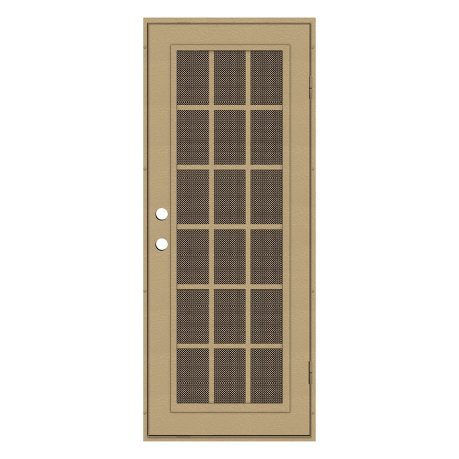 TITAN Classic French Powder-Coat Desert Sand Aluminum Surface Mount Single Security Door (Common: 32-in x 80-in; Actual: 34.5-in x 81.563-in)