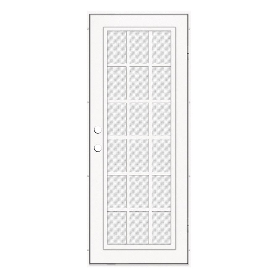 TITAN Classic French Powder-Coat White Aluminum Surface Mount Single Security Door (Common: 32-in x 80-in; Actual: 34.5-in x 81.563-in)