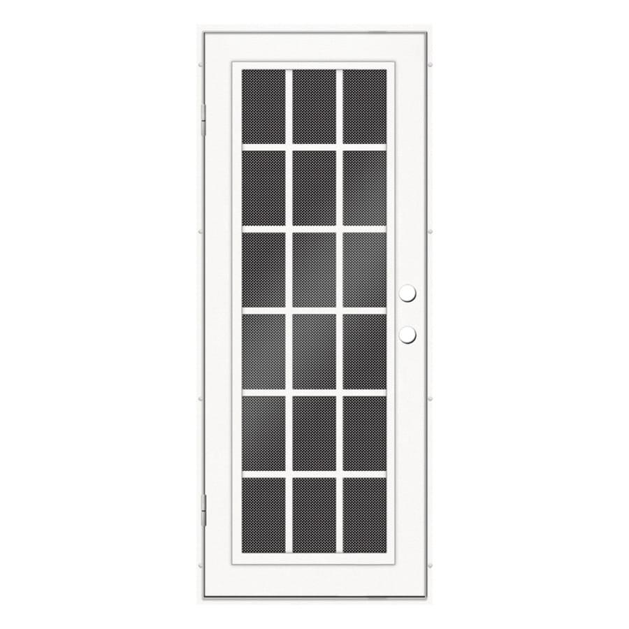 TITAN Classic French Powder-Coat White Aluminum Recessed Mount Single Security Door (Common: 32-in x 80-in; Actual: 33.5-in x 81.563-in)