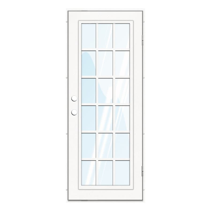 TITAN Classic French Powder-Coat White Aluminum Recessed Mount Single Security Door (Common: 32-in x 80-in; Actual: 33.5-in x 81.563-in)