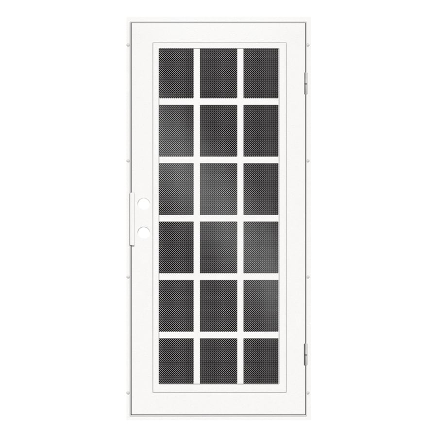 TITAN Classic French Powder Coat White Aluminum Surface Mount Single Security Door (Common: 36-in x 80-in; Actual: 38.5-in x 81.563-in)