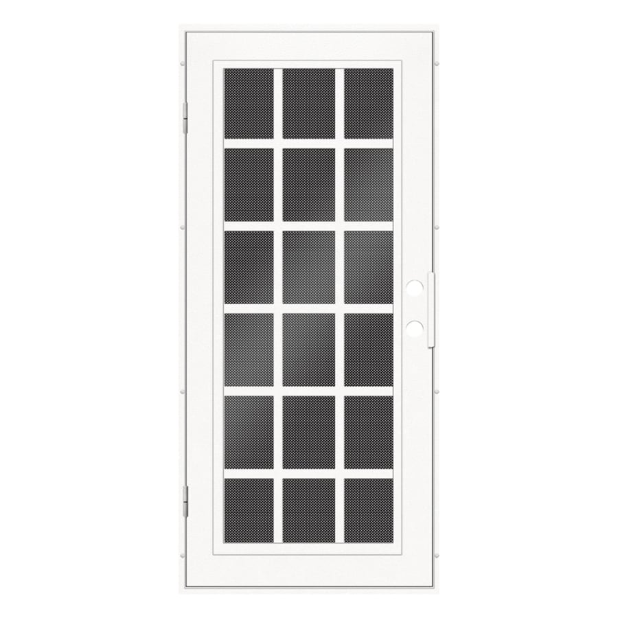 Aluminum Security Screen Door shop titan classic french powder coat white aluminum recessed