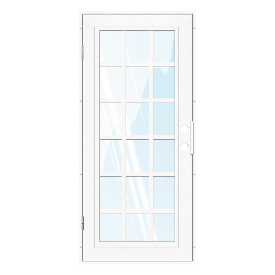 TITAN Classic French Powder-Coat White Aluminum Recessed Mount Single Security Door (Common: 36-in x 80-in; Actual: 37.5-in x 81.563-in)