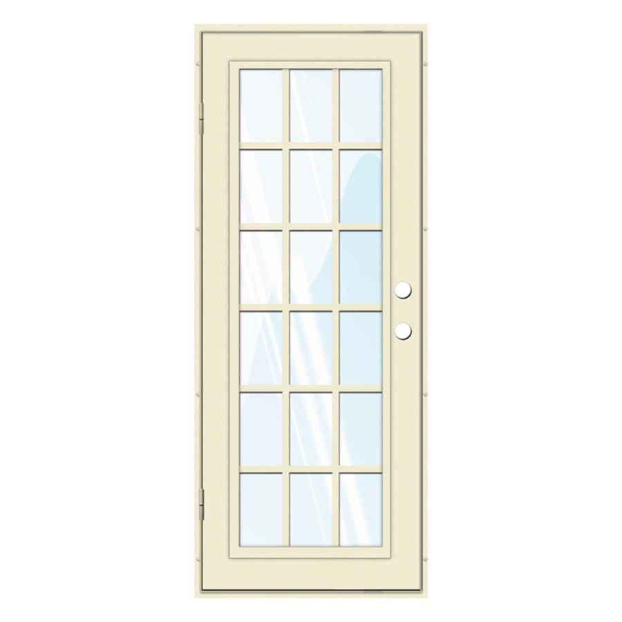 TITAN Classic French Powder Coat Beige Hammer Aluminum Surface Mount Single Security Door (Common: 32-in x 80-in; Actual: 34.5-in x 81.563-in)