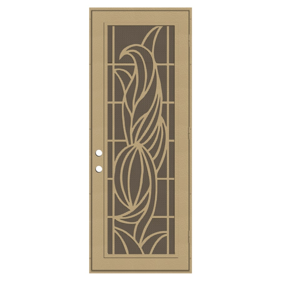 TITAN Powder-coat Desert Sand Aluminum Surface Mount Single Security Door (Common: 36-in x 96-in; Actual: 38.5-in x 97.563-in)