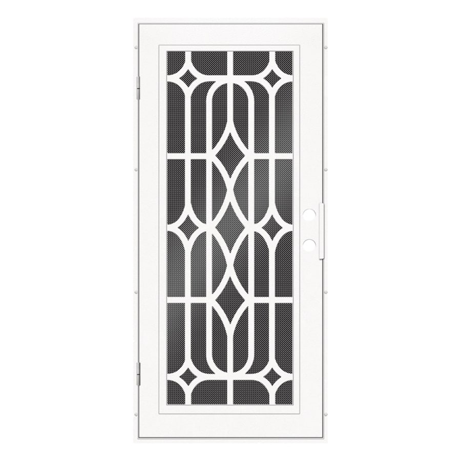 TITAN Essex Powder-Coat White Aluminum Surface Mount Single Security Door (Common: 36-in x 80-in; Actual: 38.5-in x 81.563-in)
