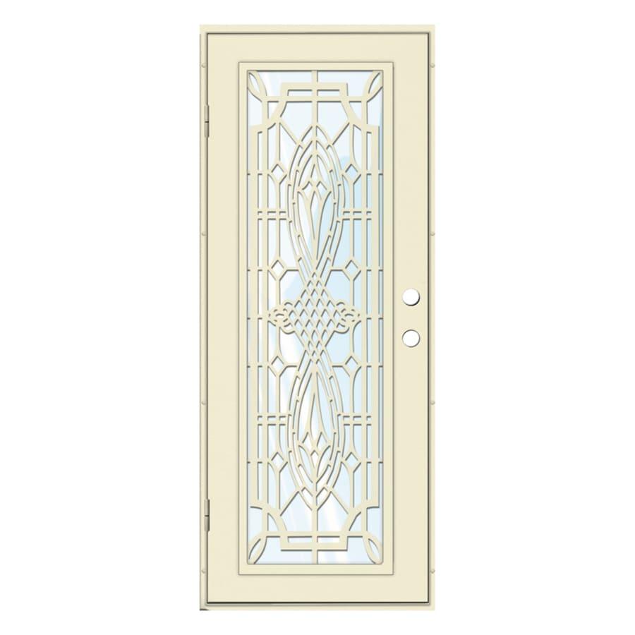 TITAN Folkstone Powder-Coat Beige Hammer Aluminum Surface Mount Single Security Door (Common: 30-in x 80-in; Actual: 32.5-in x 81.563-in)