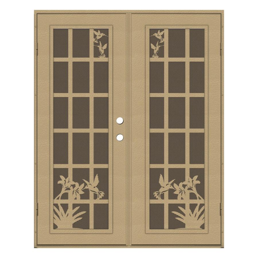 TITAN French Hummingbird Powder-Coat Desert Sand Aluminum Surface Mount Double Security Door (Common: 60-in x 80-in; Actual: 62.5-in x 81.5-in)