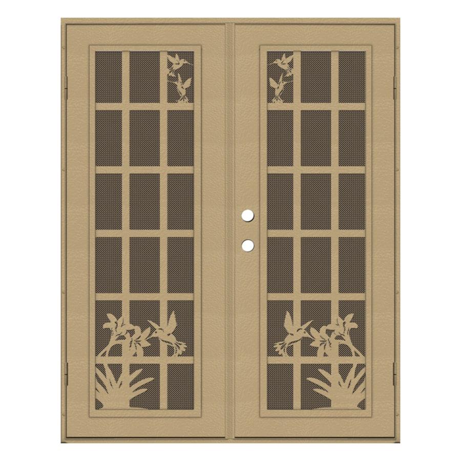 TITAN French Hummingbird Powder Coat Desert Sand Aluminum Surface Mount Double Security Door (Common: 60-in x 80-in; Actual: 62.5-in x 81.5-in)