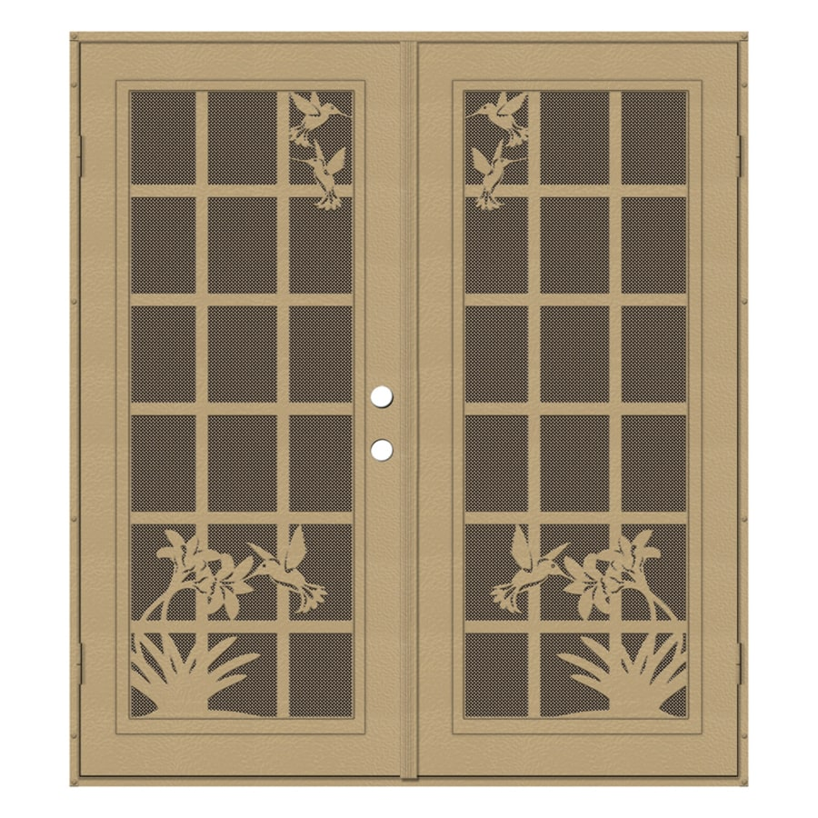 TITAN French Hummingbird Powder-Coat Desert Sand Aluminum Surface Mount Double Security Door (Common: 72-in x 80-in; Actual: 74.5-in x 81.5-in)