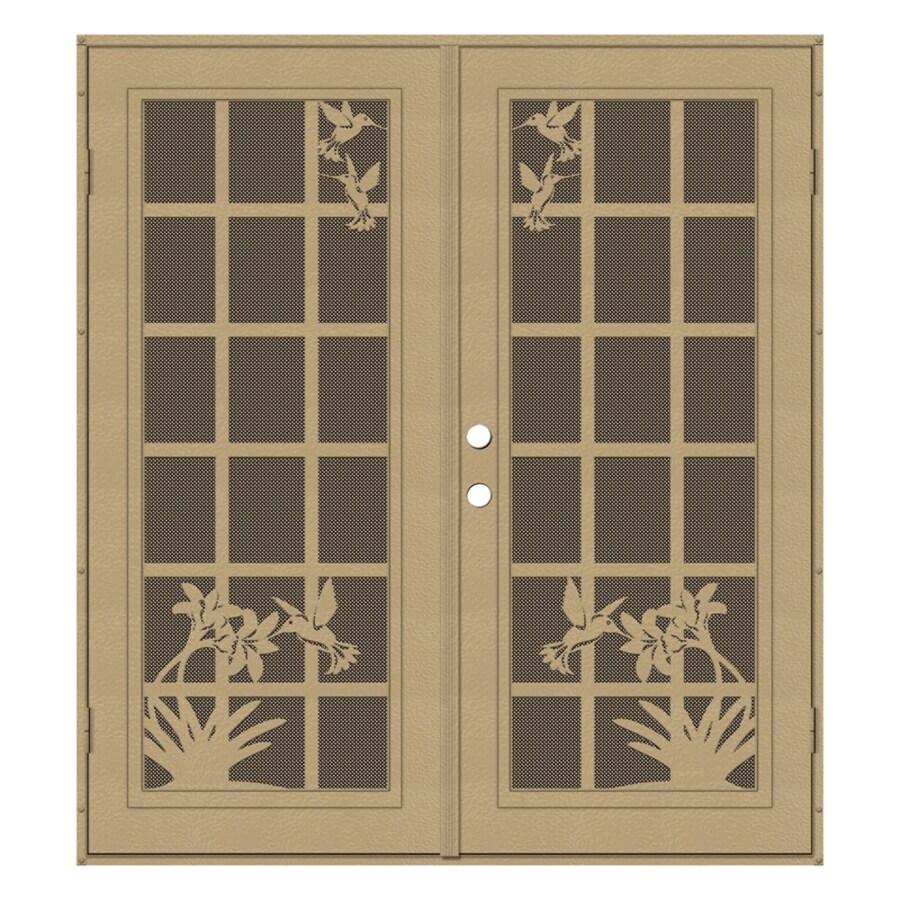 TITAN French Hummingbird Powder-Coat Desert Sand Aluminum Surface Mount Double Security Door (Common: 72-in x 80-in; Actual: 74.5-in x 81.5-in)